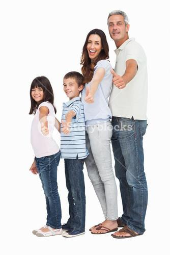 a cute family in single file doing thumbs up