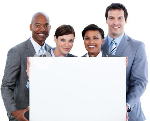Portrait of a business team holding a white board