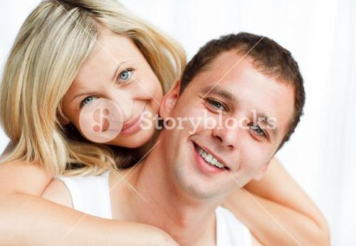 Close up of happy boyfriend and girlfriend