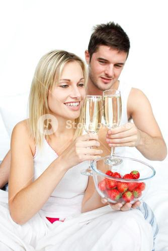 Couple toasting with champagne to an engagement