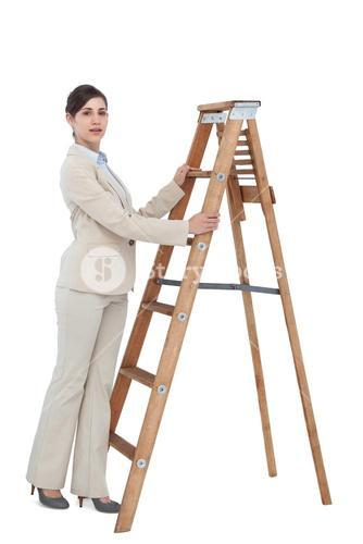 Businesswoman at the bottom of the career ladder