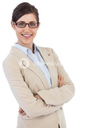 Smiling businesswoman wearing glasses