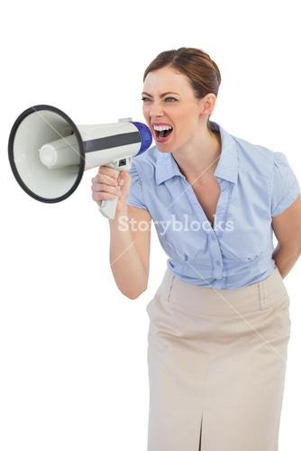Energetic businesswoman with megaphone