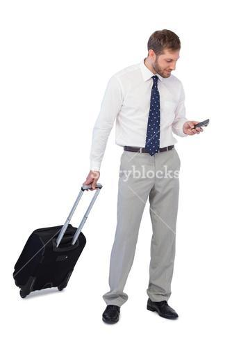 Cheerful businessman holding phone
