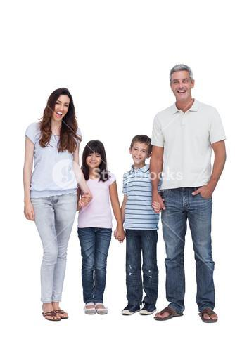 Cheerful family holding hands