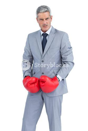 Furious businessman posing with boxing gloves