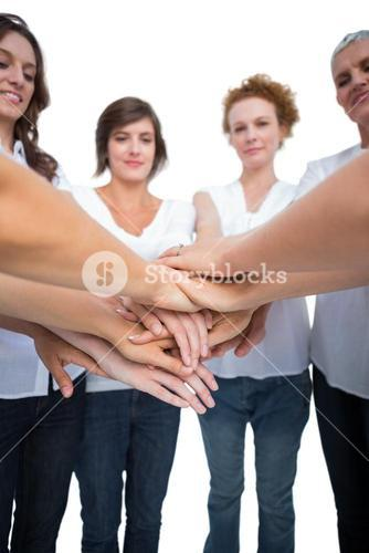 Relaxed models joining hands in a circle