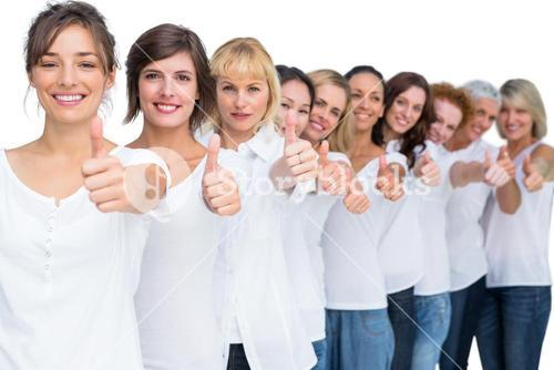 Cheerful casual models posing in a line thumbs up