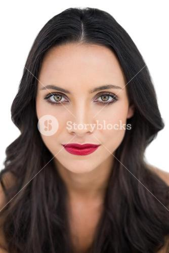 Dark haired woman with red lips