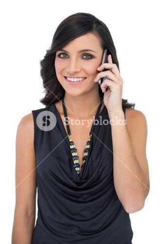 Elegant brown haired model talking on the phone