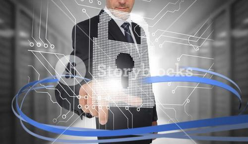 Businessman touching lock on futuristic interface with swirling lines