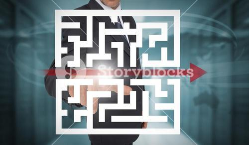 Businessman touching futuristic qr code with arrow interface
