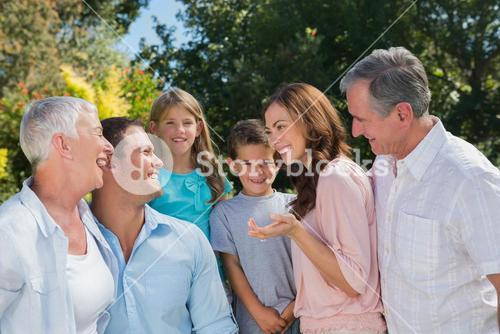 Smiling family and grandparents talking