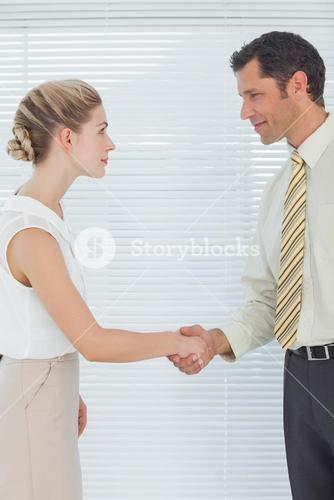 Businessman shaking hands with his attractive colleague