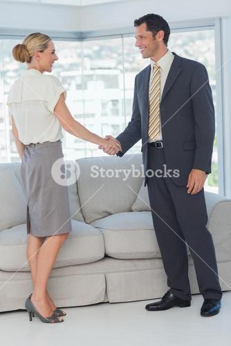 Cheerful business people shaking hands