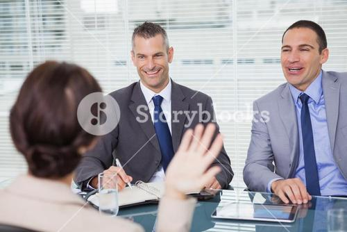 Brown haired woman having an interview