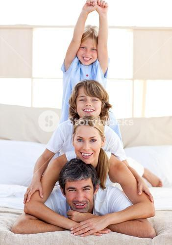 Jolly family having fun