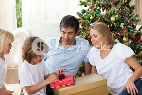 Cheerful family celebrating Christmas