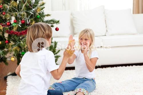 Cute siblings having fun at Christmas