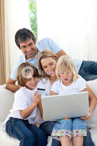 Young family shopping online