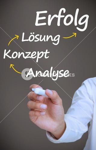 Businessman writing problem analyse konzept losung and erfolg with arrows