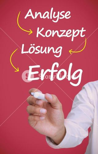 Businessman writing problem analyse konzept losung erfolg in white
