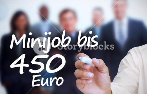 Businessman writing withmarker minijob bis 450 euro