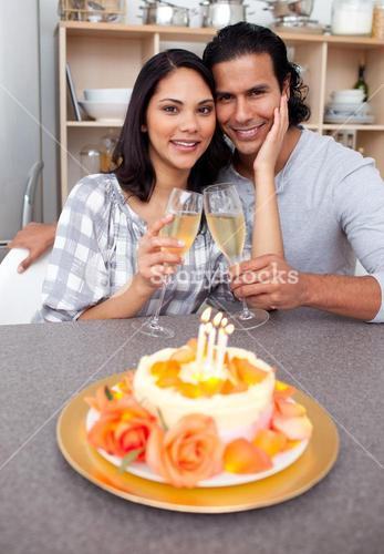 Intimate couple celebrating