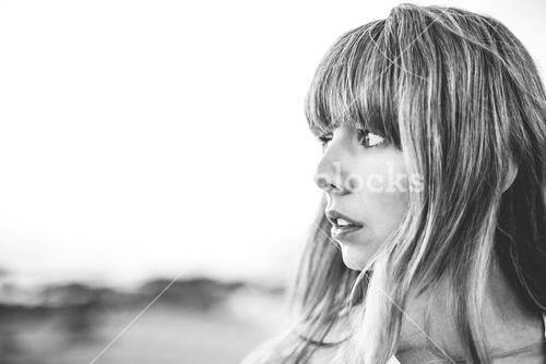 Hipster girl with fringe looking away