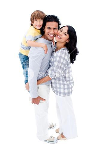 Happy Family Against A White Background