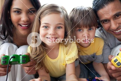 Close up of family playing video game