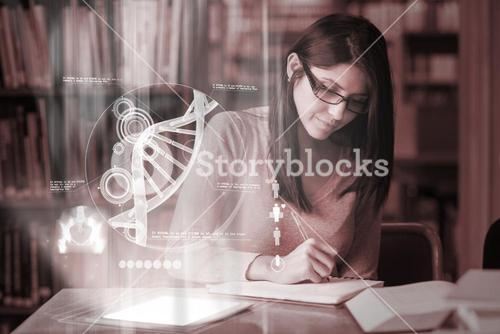 Concentrated mature student studying medicine on digital interface