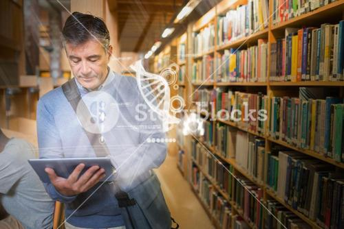 Mature student using futuristic hologram to learn science from his tablet