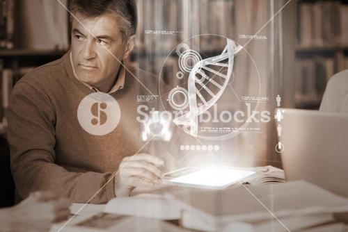 Mature student using futuristic hologram to learn science from tablet pc