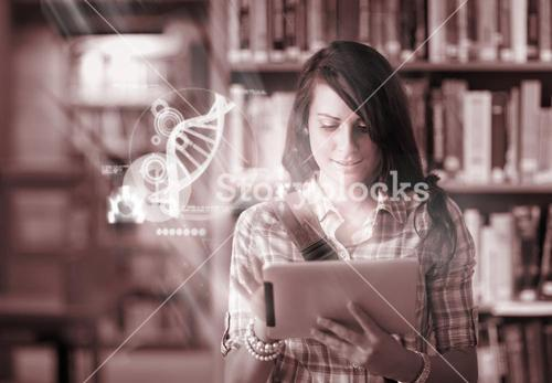 Happy student using futuristic interface to learn about science from digital tablet