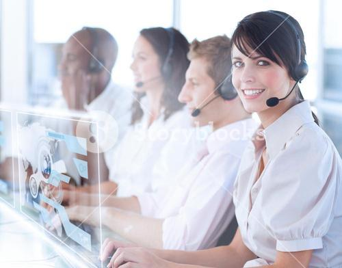 Pretty call center worker using futuristic holographic interface