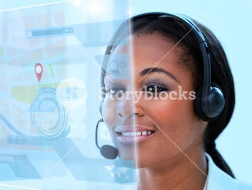 Beautiful call center worker using futuristic holographic interface