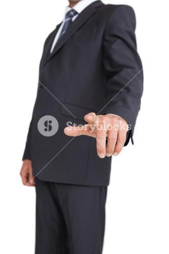 Stylish businessman pointing the finger
