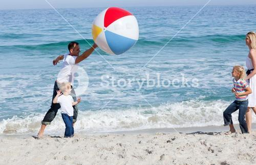 Animated family playing with a ball