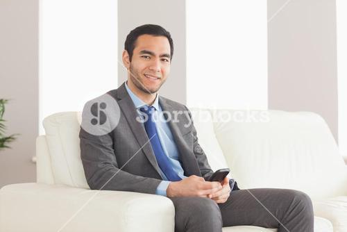 Smiling businessman sitting on cosy sofa