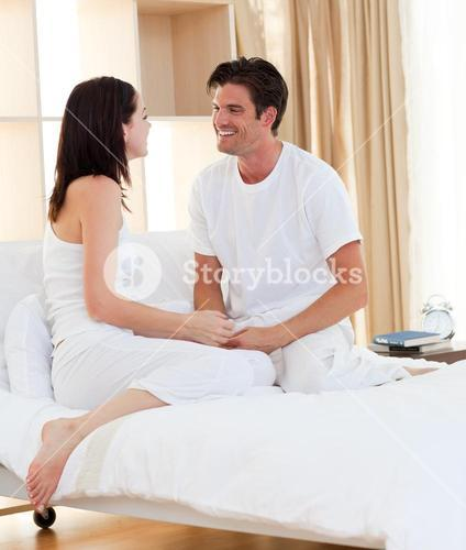 Intimate couple smiling