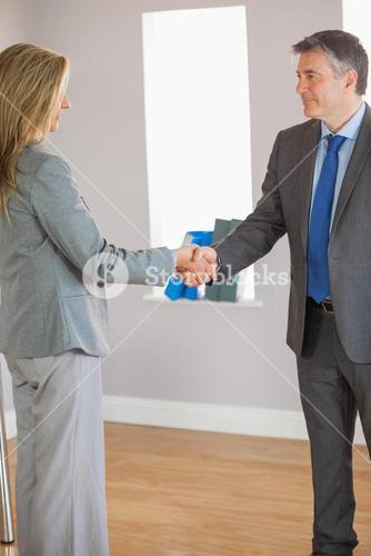 Business team shaking hands and smiling