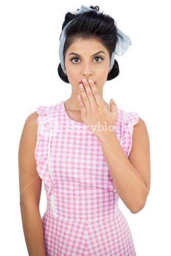 Surprised black hair model posing covering her mouth