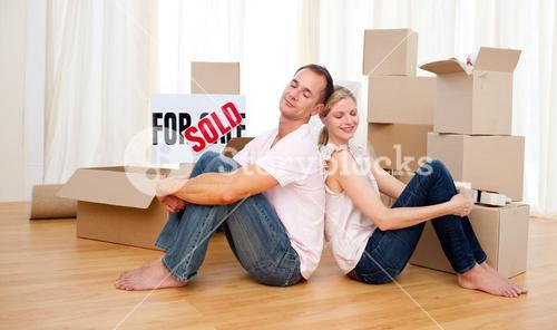 Young couple relaxing while moving
