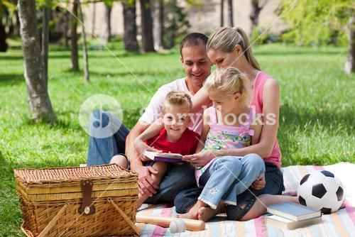 Young family relaxing while having a picnic