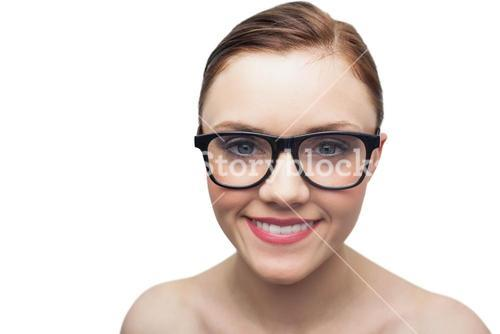 Smiling clean model with classy glasses posing