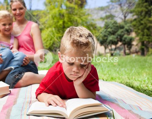 Serious little boy reading while having a picnic with his family