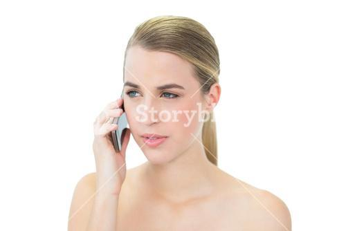 Peaceful attractive blonde on the phone