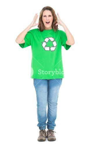 Woman wearing green shirt with recycling symbol screaming
