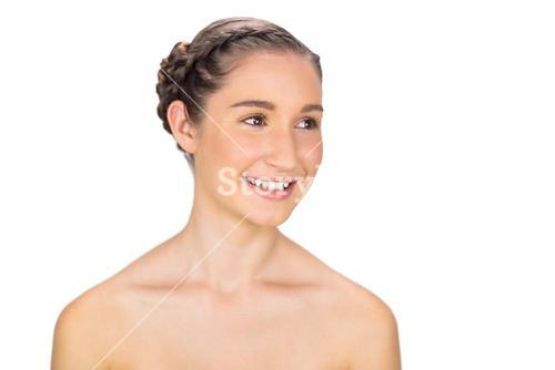 Smiling healthy young model posing